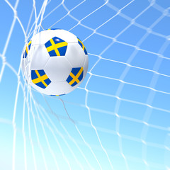 3d rendering of a Sweden flag on soccer ball in a net