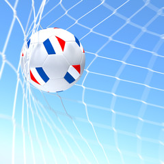 3d rendering of a France flag on soccer ball in a net