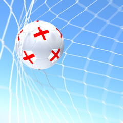 3d rendering of a England flag on soccer ball in a net