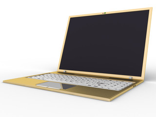 Golden laptop on a white background №1
