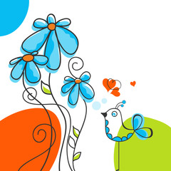 Fotobehang Abstract bloemen Bird and flowers love story