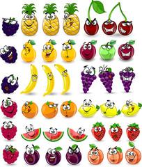 Мультфильм апельсин, банан, лимон, арбуз, малина, ананас