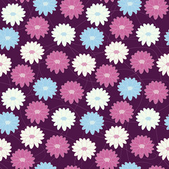 seamless floral pattern with flowers in three colors