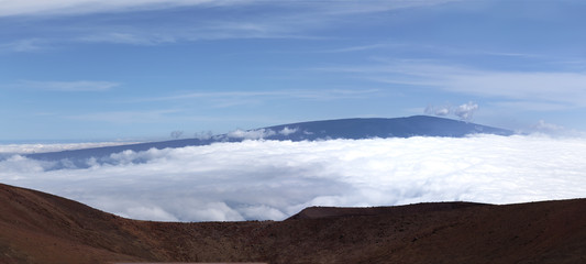 view of Mauna Loa summit  from Mauna Kea summit