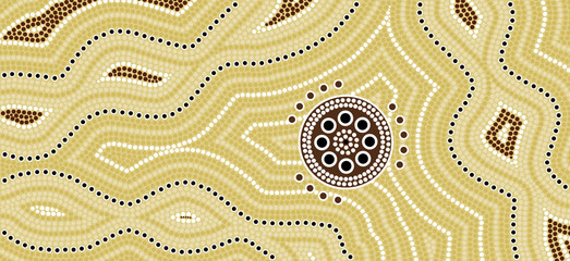 Illu.based on aboriginal style of dot painting Desert