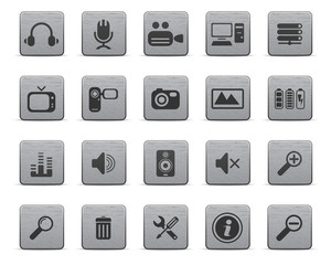 Media icons, metal series
