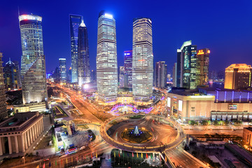 Garden Poster Shanghai shanghai lujiazui financial center in the evening