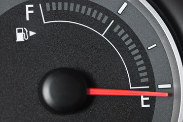 Fuel gauge with needle at empty