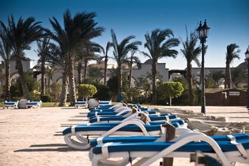 Beach lounges near the 5-star hotel