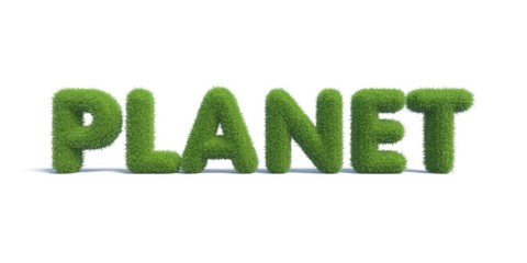 planet of the inscription of green grass in the form of a text