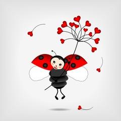 Photo sur Aluminium Coccinelles ladybug with flower