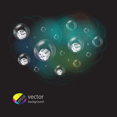 Vector illustration of dices in spheres