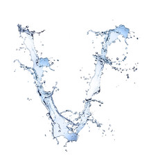 "Water alphabet letter ""V"" isolated on white background"