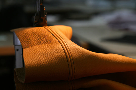Leather on sewing-machine