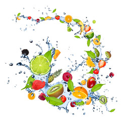 Fototapete - Fresh fruits falling in water splash on white background