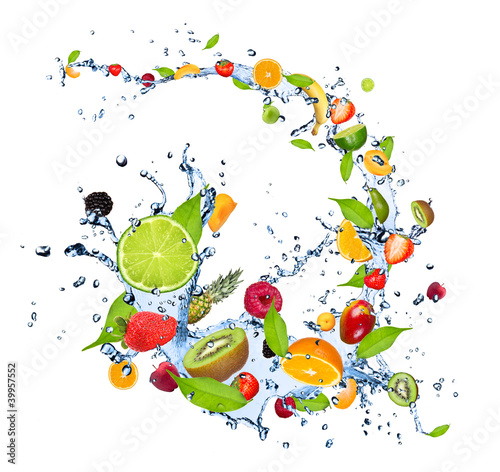 Wall mural Fresh fruits falling in water splash on white background