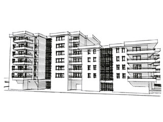 Sketch idea, drawing of residential building
