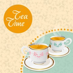 teacups floral background