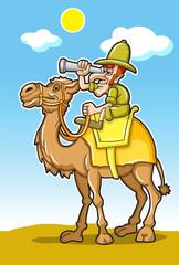 Colorful Cartoon Traveller In The Desert