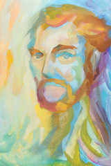 multicolored abstract portrait of man