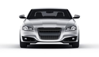 Silver car in studio