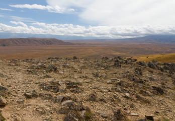Plaine désertique depuis les rochers du Mont John