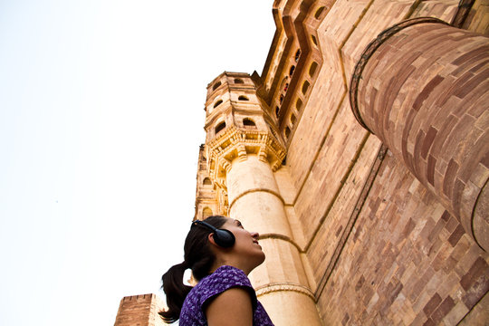 Young tourist with Audio Guide in Jodhpur, India