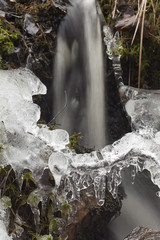 Ice crystals and water