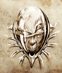 Sketch of tattoo art, skull under water