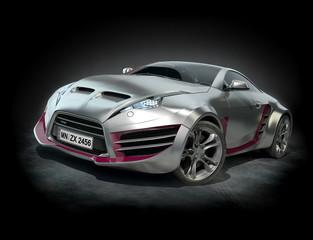 Silver sports car on a black background. Original car design.