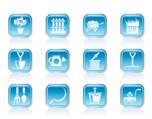 Garden and gardening tools icons - vector icon set