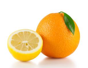 Bright orange with half a lemon