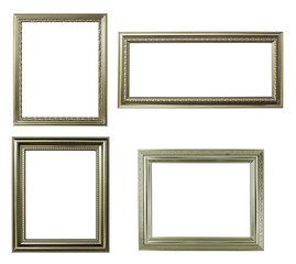 four silver frame on white background
