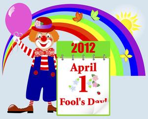 April fools' day. Cute clown.