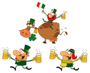 Happy Green Leprechauns Dancing With Cow.  Collection