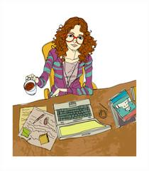 portrait of woman sitting in office
