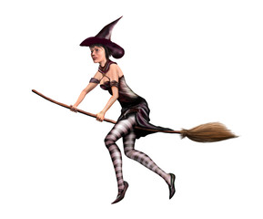 Isolated witch on a broomstick