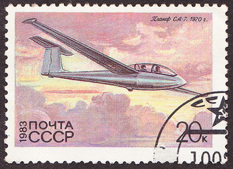 USSR - CIRCA 1983 A stamp printed in the USSR shows  glider