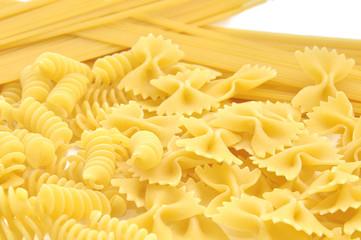 Closeup of frame of  italian pasta farfalle spaghetti
