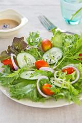 Salad with sesame dressing