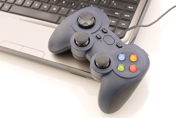 Video Game Controller on laptop Computer