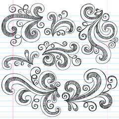 Sketchy Doodle Swirls Vector Design Elements Set