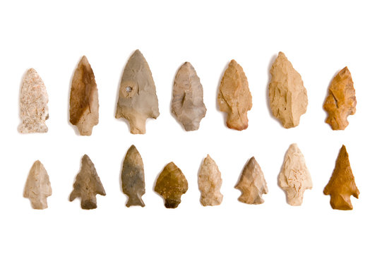 Arrowhead collection isolated on white