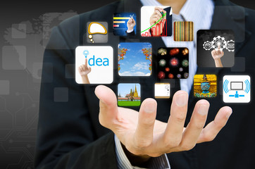 businessman hand holding image business collection