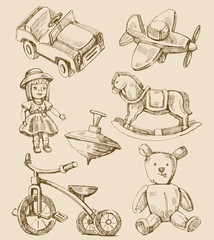 hand drawn vintage toys collection