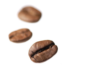 Three Coffee Beans on White Background.