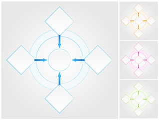 Blank flowchart. Four color variations in different layers