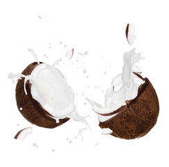 Wall Mural - Cracked Coconut with splash over white