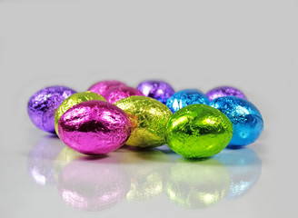 Bright Foil Chocolate Easter Eggs Reflected