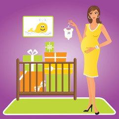 Happy pregnant woman with gifts